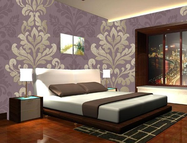 Wooden tile laminated floor design room paint colors for Bedroom designs with wallpaper