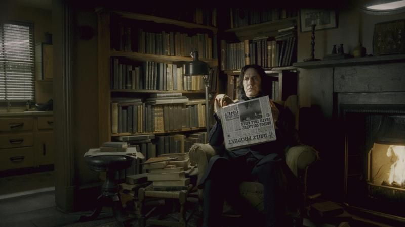 Snape reading the Daily Prophet
