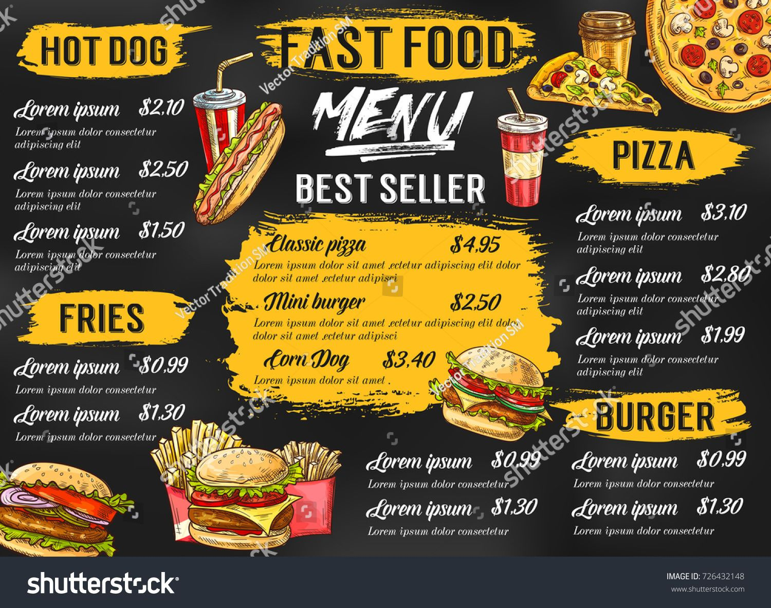 Fast Food Menu Template For Fastfood Restaurant Or Cafe Vector