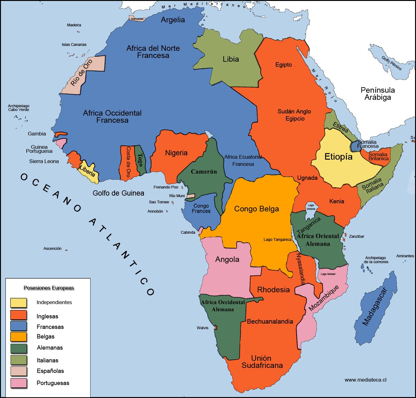 Mapa De áfrica Tras La Ocupación De Las Potencias Europeas A Causa De La Revolución Industrial Mapa De Fina Africa Mapa Relaciones Internacionales Continentes