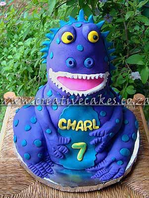 Sculptured Dinosaur Cake designed as a Dinosaur Birthday Cake for a
