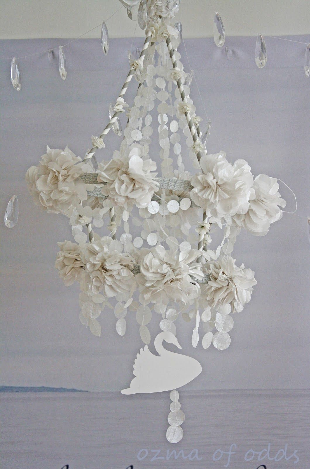 Decorative chandeliers for every wedding theme paper chandelier ozma of odds a pretty pearl paper pajaki arubaitofo Gallery