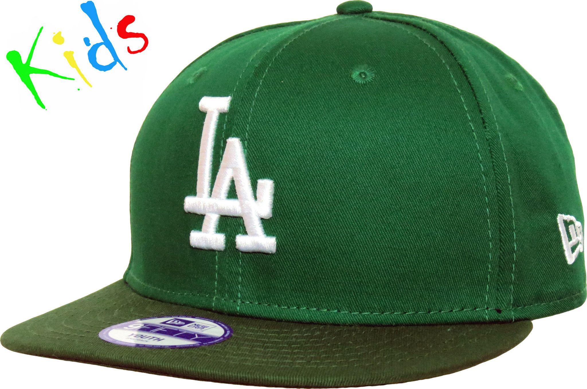 4293fca727e LA Dodgers New Era 950 Cotton Block Kids Kelly Green Snapback Cap (Ages 5 -  10) - pumpheadgear