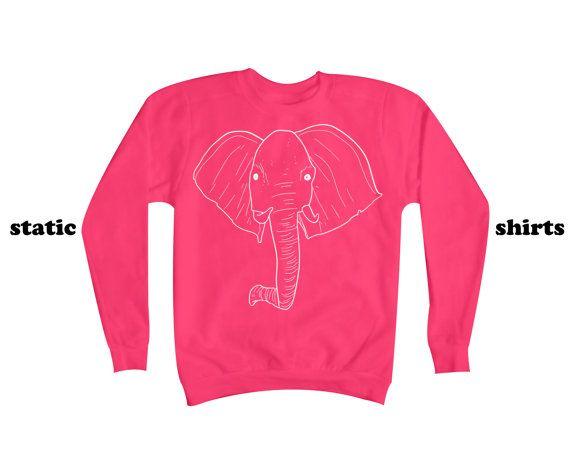 Elephant Sweatshirt | Pink Elephant Sweater | Animal Clothing