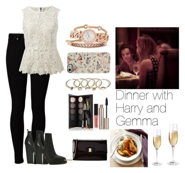 """Dinner with Harry and Gemma"" by sassmastaofdoncaster ❤ liked on Polyvore featuring Vero Moda, Jeffrey Campbell, Zara, Laura Mercier, Cath Kidston, CAbi, FOSSIL, Salvatore Ferragamo, Wine Enthusiast and Apilco"