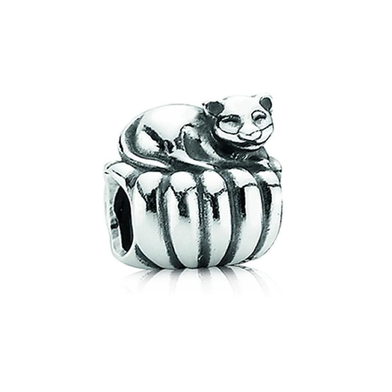 Sterling Silver 15mm Cat with 7.5 Charm Bracelet Jewels Obsession Cat Pendant