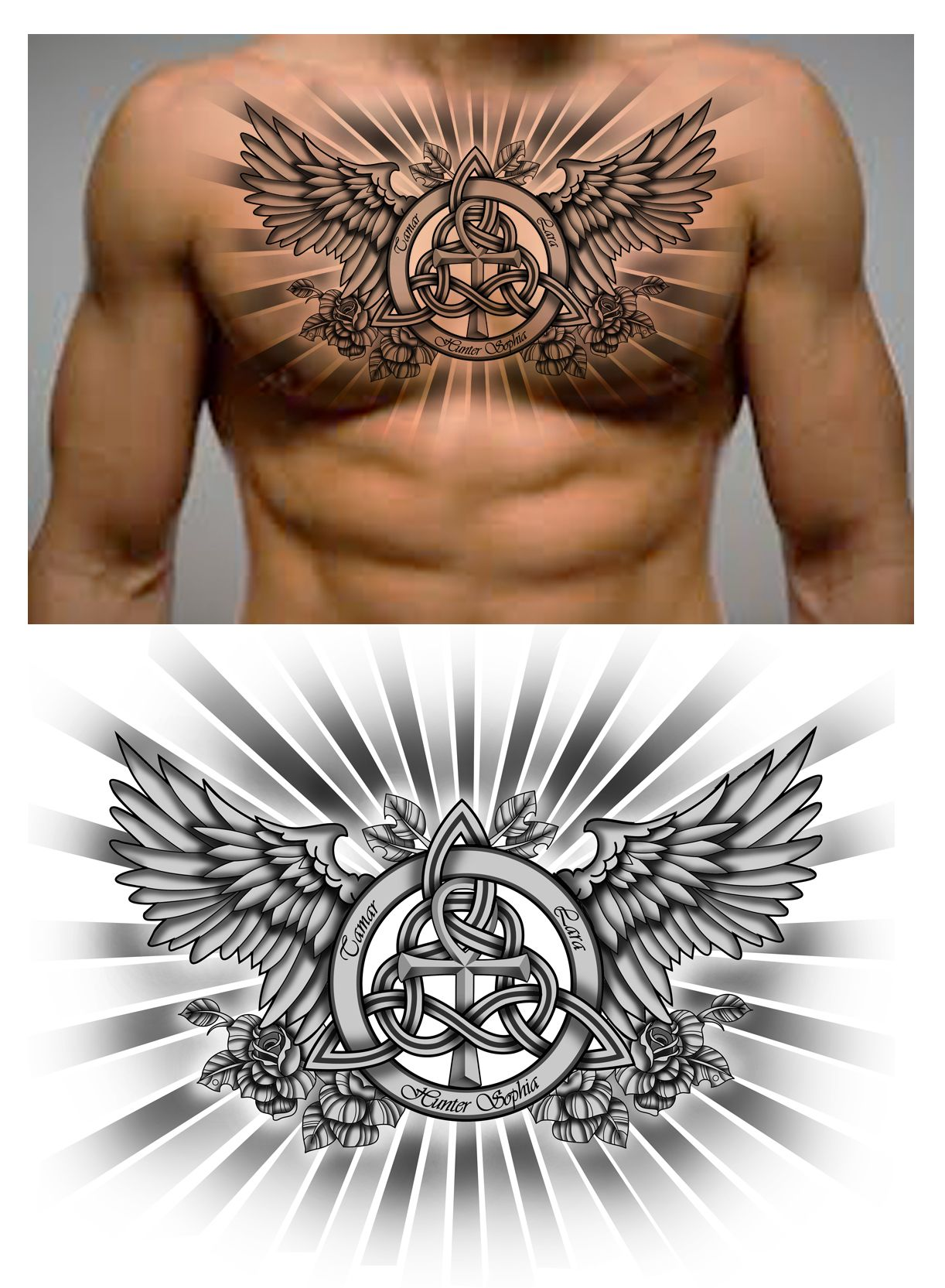 Family trinity knot with names and ankh symbol in it chest piece family trinity knot with names and ankh symbol in it chest piece buycottarizona Images