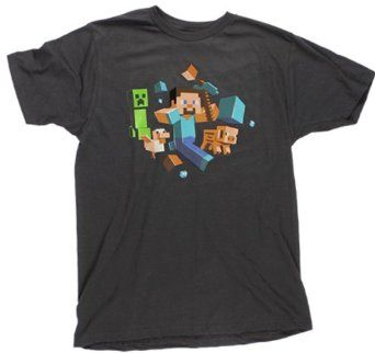 Minecraft Party Boys Graphic Tee Red T-Shirt Large 10//12