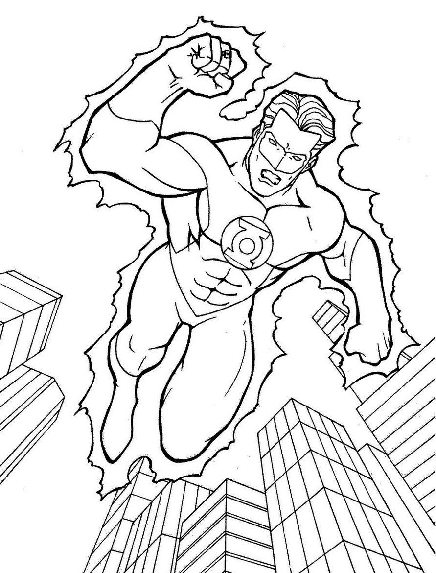 Green Lantern Coloring Page To Boost Your Child S