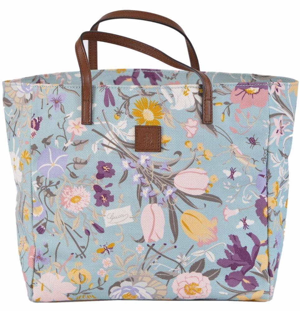 b1cf3ed0a87 New Gucci Children s 284721 Blue Mini Canvas Flora Floral Purse Tote Handbag …