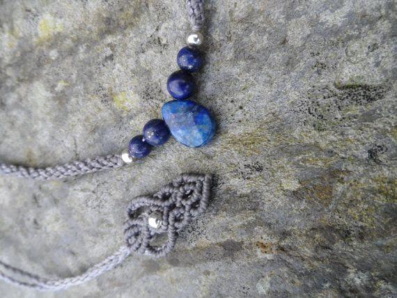 Collana Lapislazzuli Macrame-pietra dimensioni circa di LaQuetzal