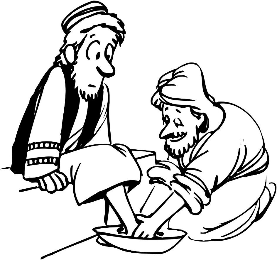 Jesus washing feet coloring page