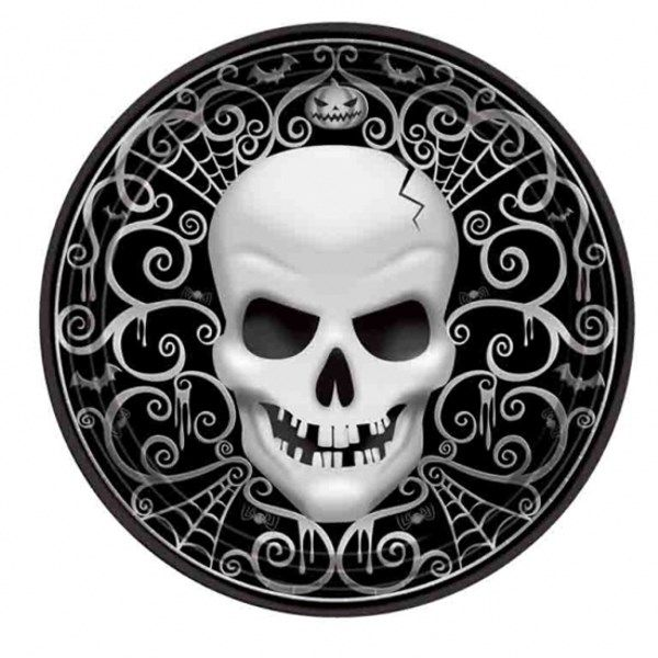Party Skull Halloween Pap Tallerken - Single. Størrelse: 27 cm. Et uhyggeligt tema til Halloween og andre skræmmende fester. #MinTemaFest.dk