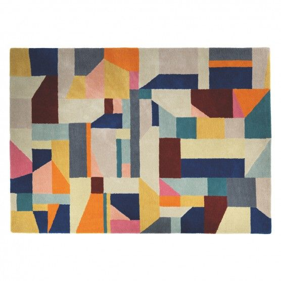 Patch Large Multi Coloured Wool Rug 170 X 240cm Room