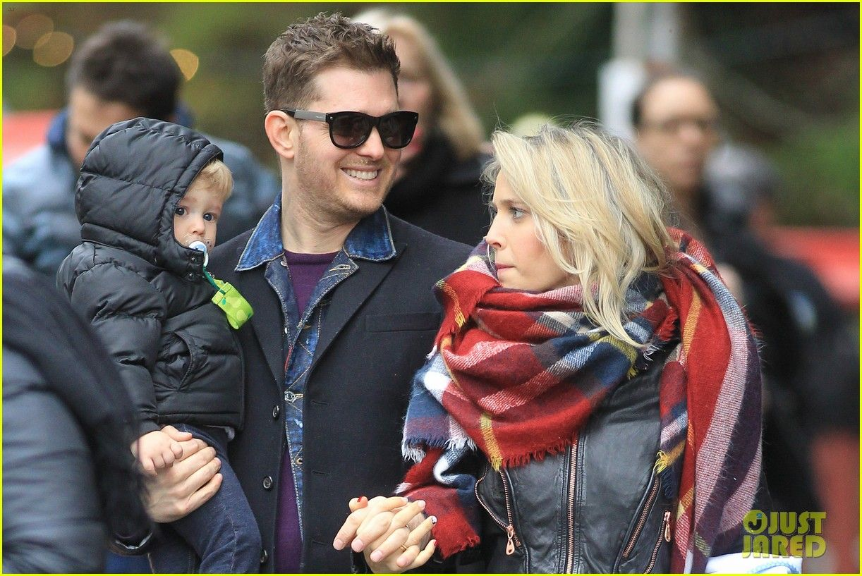 Michael Buble Takes His Son Noah to a Christmas Theme Park