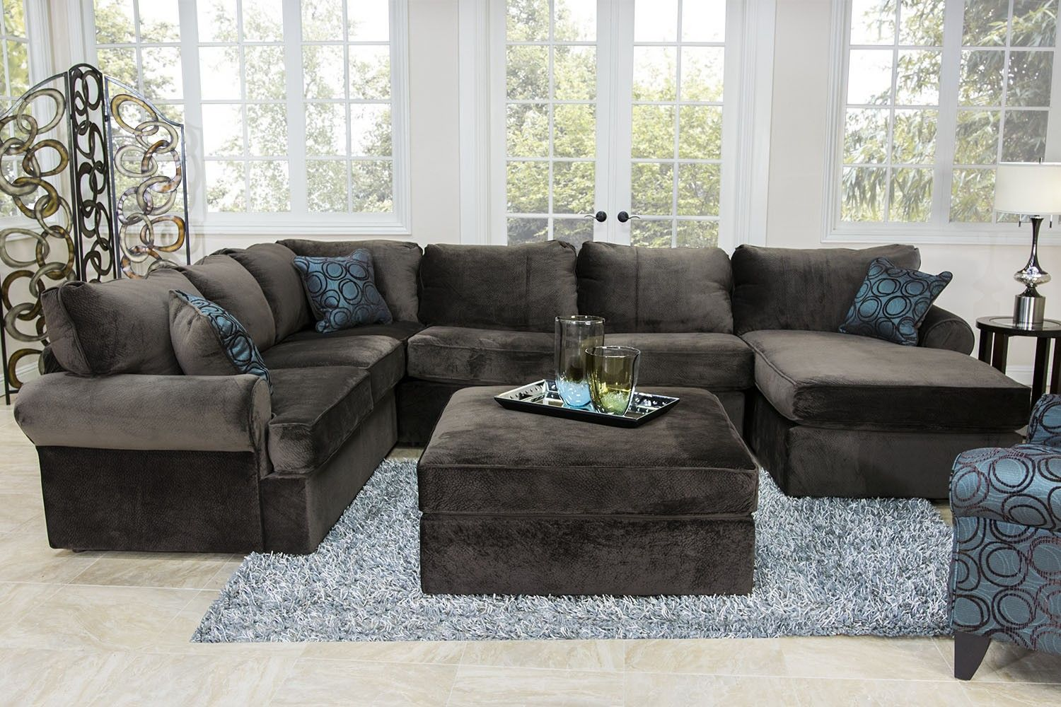 Living Room Furniture For Less Shag Rug Napa Chocolate Sectional Mor