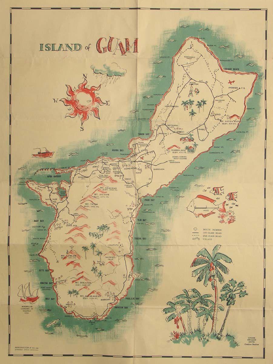 Older Map Of Guam Guam Guam Island Map Island