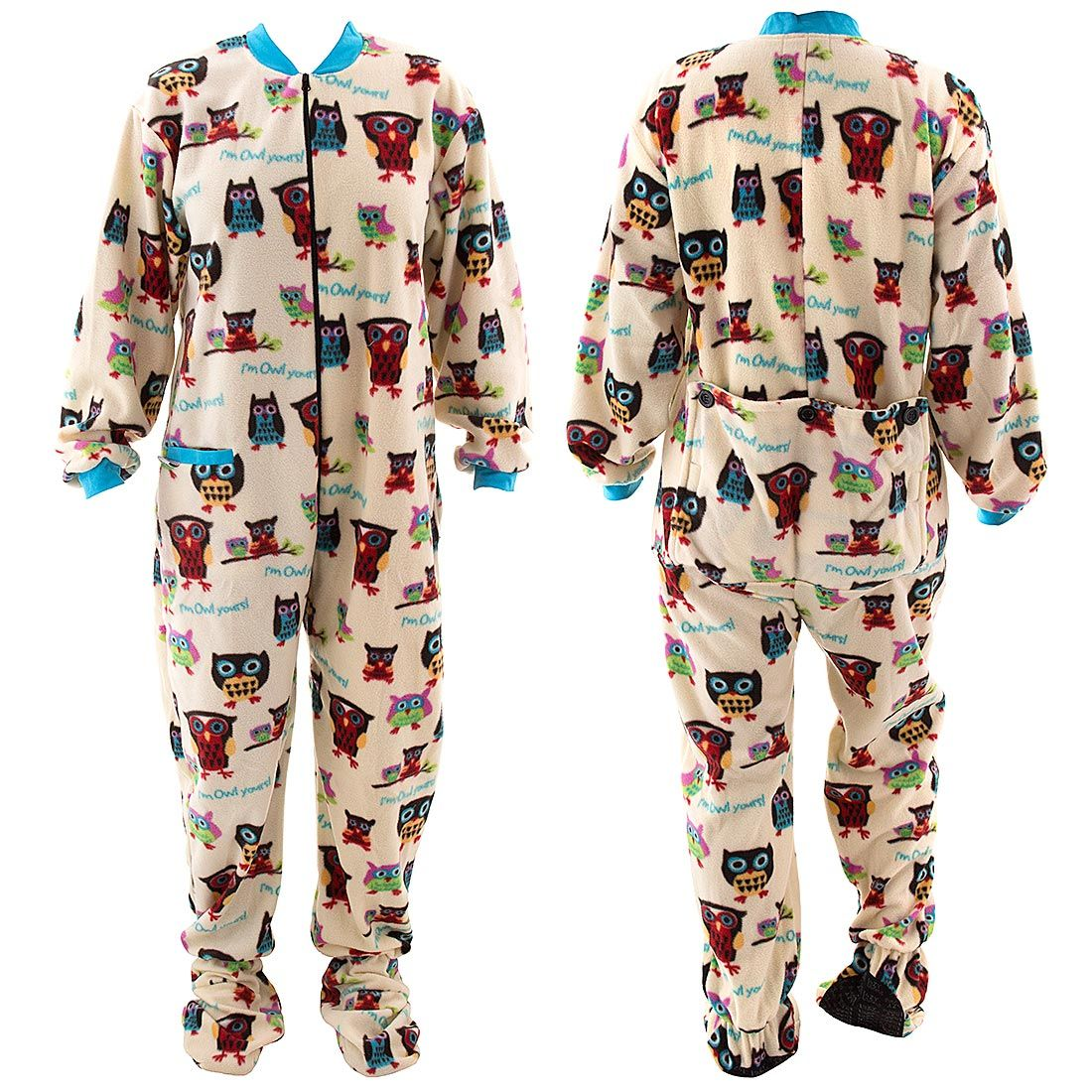 8d9f96461a Lazy One I m Owl Yours Footed Pajamas for Adults - Lazy One Pajamas    Nightshirts