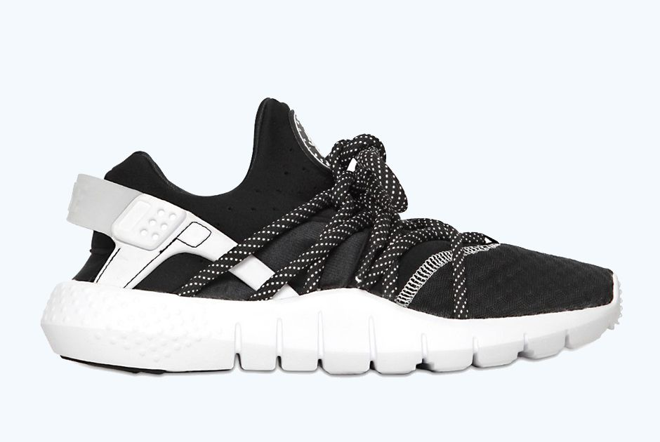 nike air huarache free run nm – black \/ white and crazy
