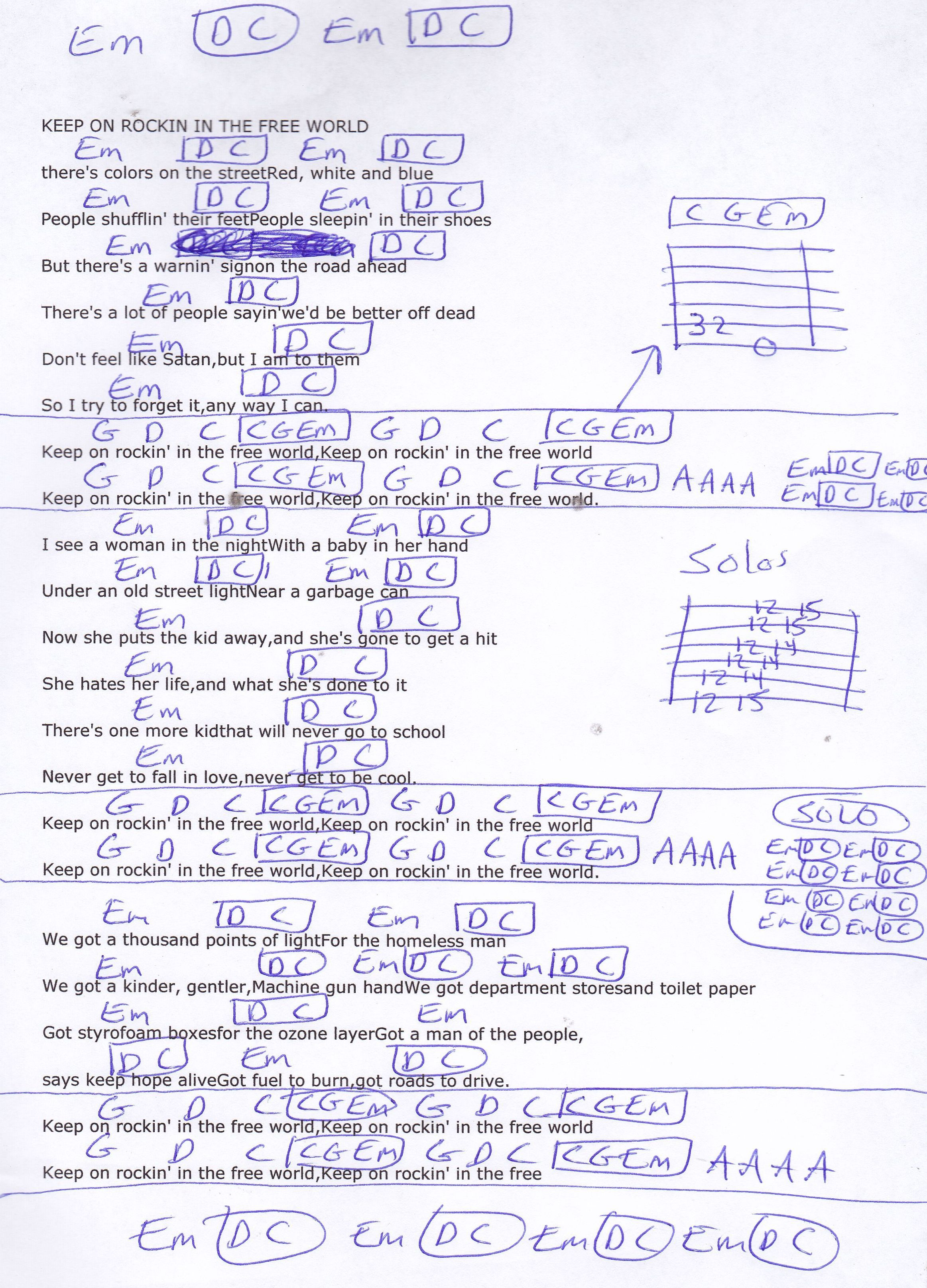 Keep On Rocking In The Free World Neil Young Guitar Chord Chart Lyrics And Chords Easy Guitar Songs Acoustic Guitar Lessons