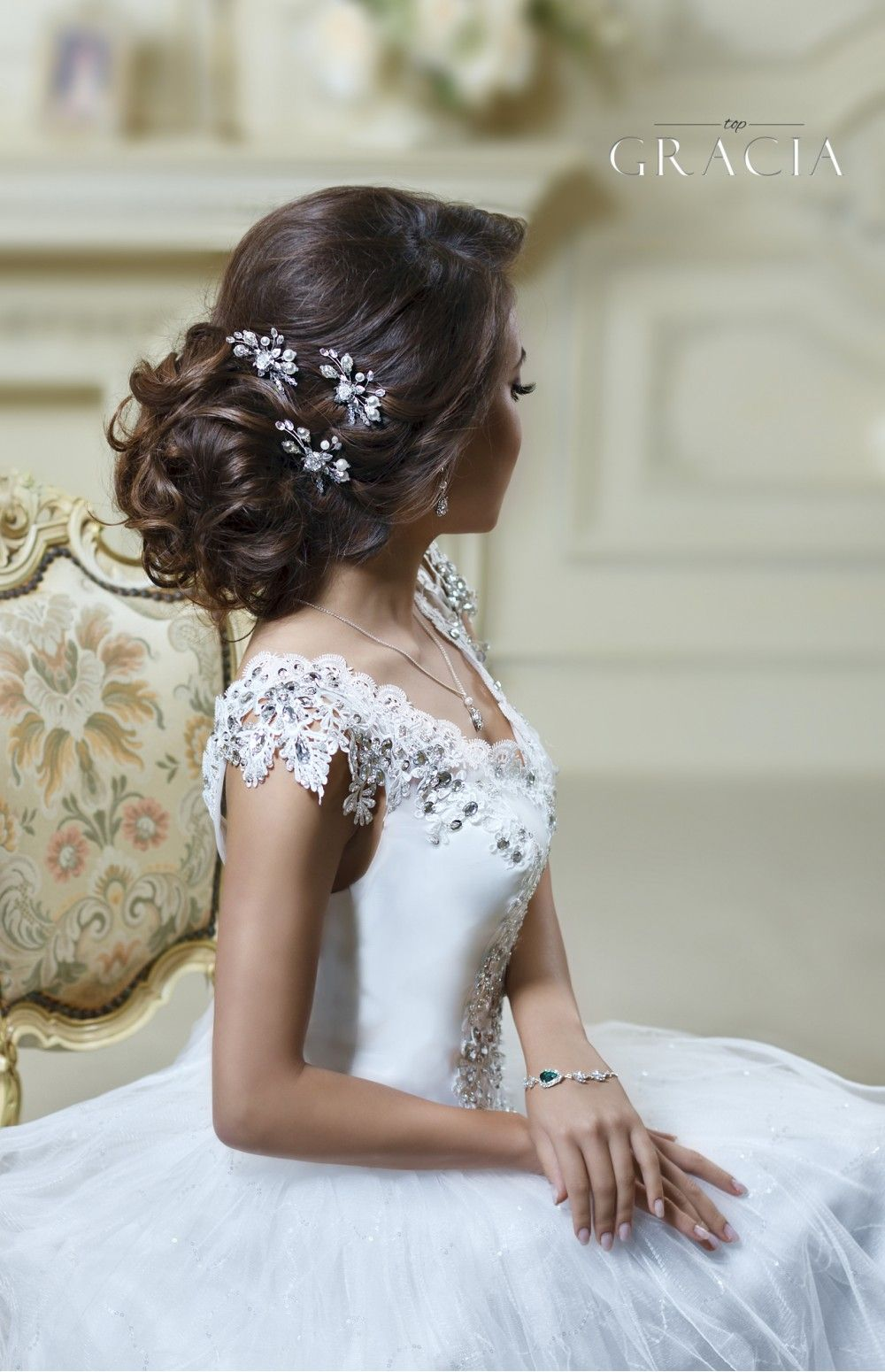 Selene silver rose pearl bridal hairpins hair jewelry for braids
