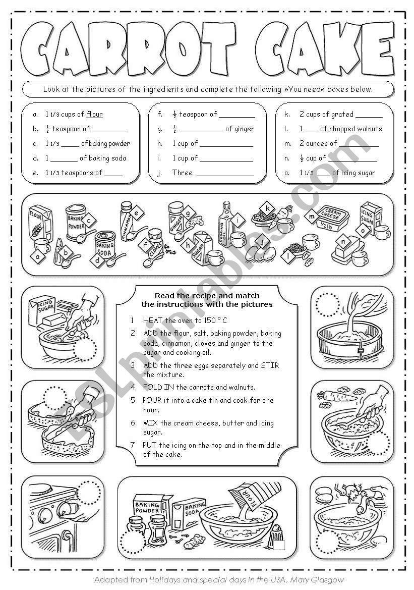 Carrot Cake Recipe Worksheet Carrot Cake Recipe Reading Comprehension Worksheets Reading Comprehension [ 1169 x 821 Pixel ]