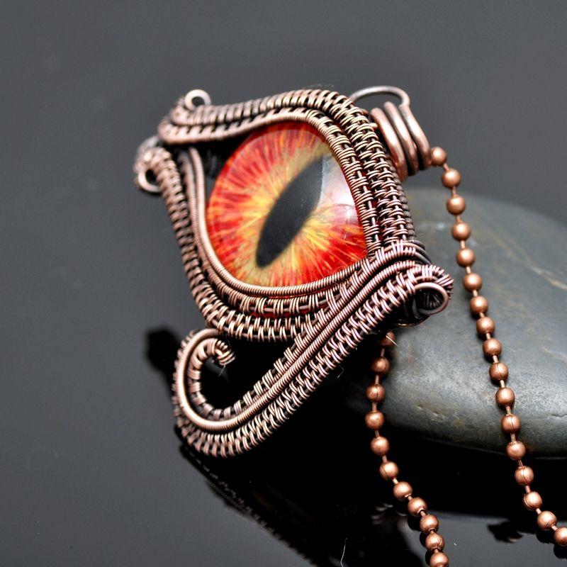 Red Wire Wrap Copper Eye of Horus Pendant - Nicole Hanna Jewelry ...