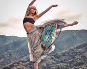 Nepalese sari cotton chiffon maxi skirt (Q1106)