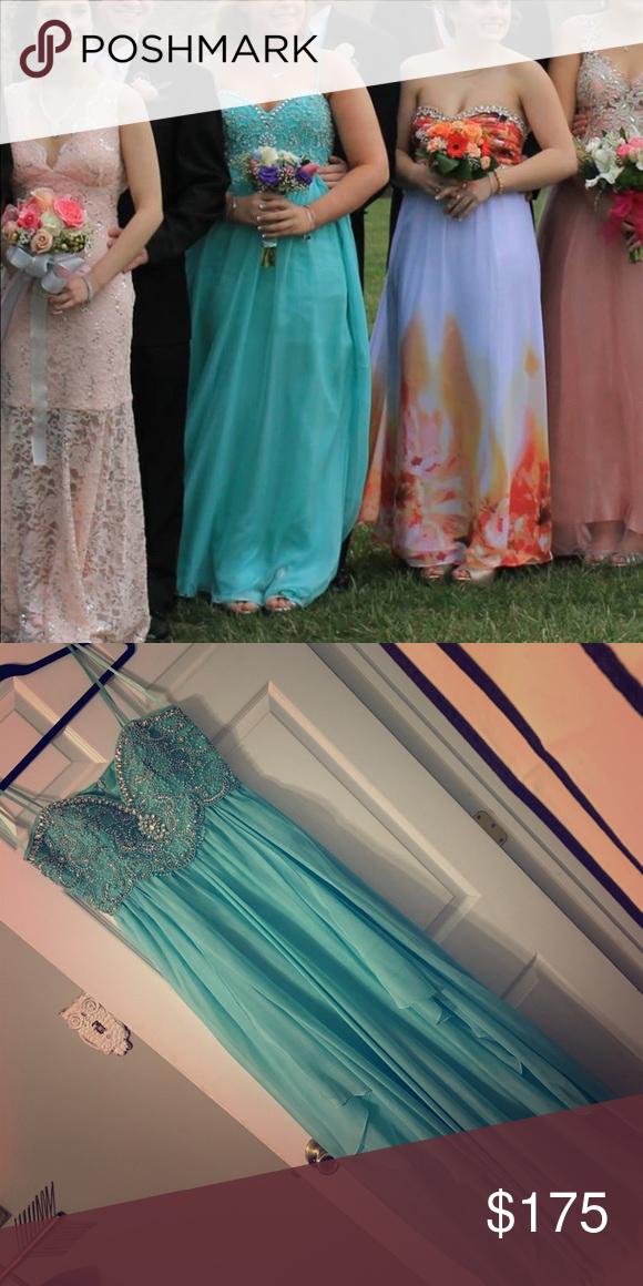 Teal beaded prom dress Prom dress Dave & Johnny Dresses Prom