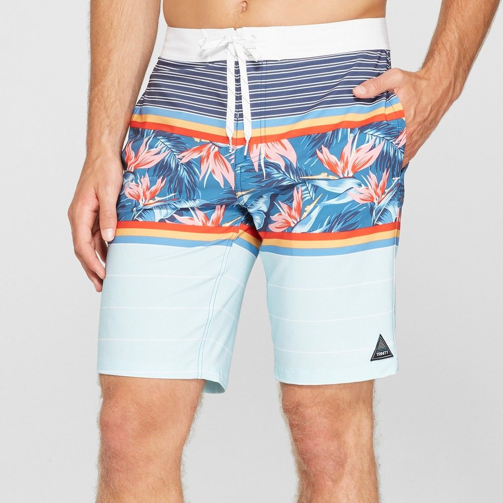 7091a0438a76c These Peru Floral Striped Board Shorts from Trinity Collective come in ...