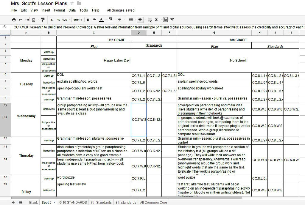 Using Google Docs for Lesson Plans and labeling the Common Core - common core lesson plan template