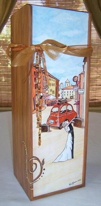 A custom painted wood wine box makes the perfect wedding gift.  This couple celebrated their honeymoon in Italy.