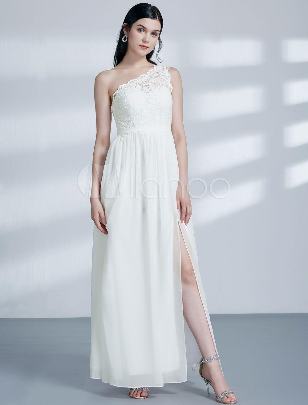 White bridesmaid dresses lace chiffon split one shoulder long prom