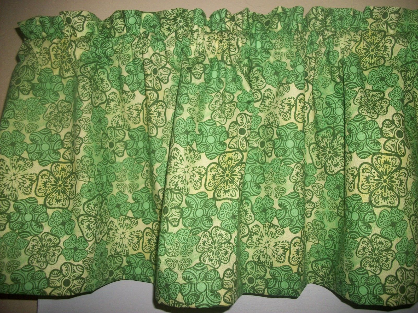 Shamrock clover saint st patricks day fabric kitchen curtain topper
