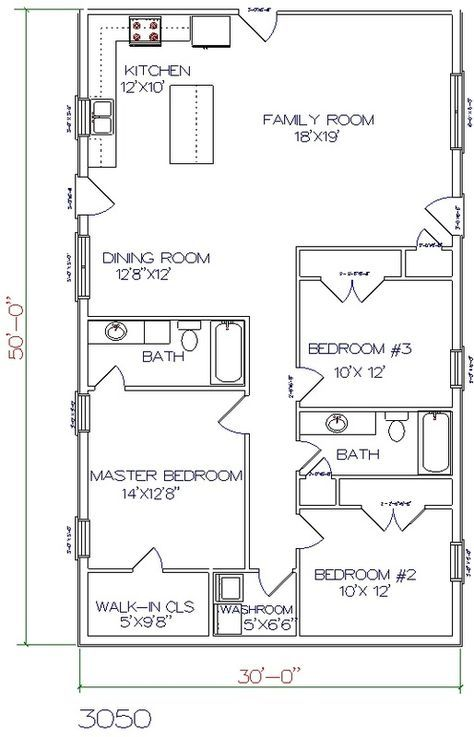 3 Bed 2 Bath 30 X 50 1500 Sq Ft Barndominium Floor Plans House Floor Plans Barndominium Plans