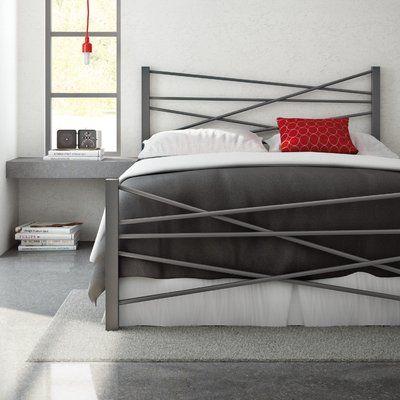 Amisco Crosston Bed Color Glossy Grey Size Queen Metal Platform Bed Metal Beds Metal Headboard