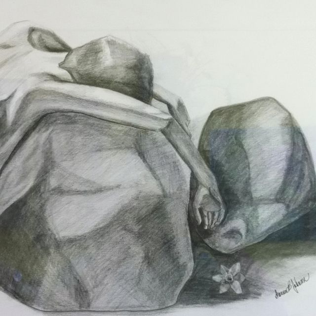 This is my depiction of Hades. His love for Persephone has overtaken him as she returned to her Mother Demeter leaving him behind... 1/4 illustrations Graphite on paper (this is a partial).