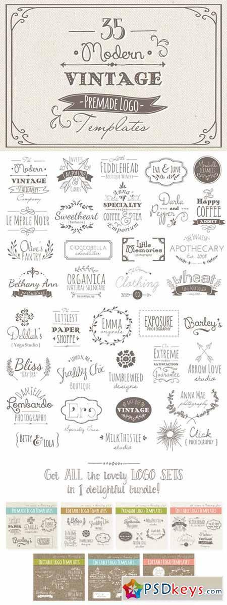 35 Hand Drawn Logos Bundle 29858 | PSDkeys | Hand drawn logo