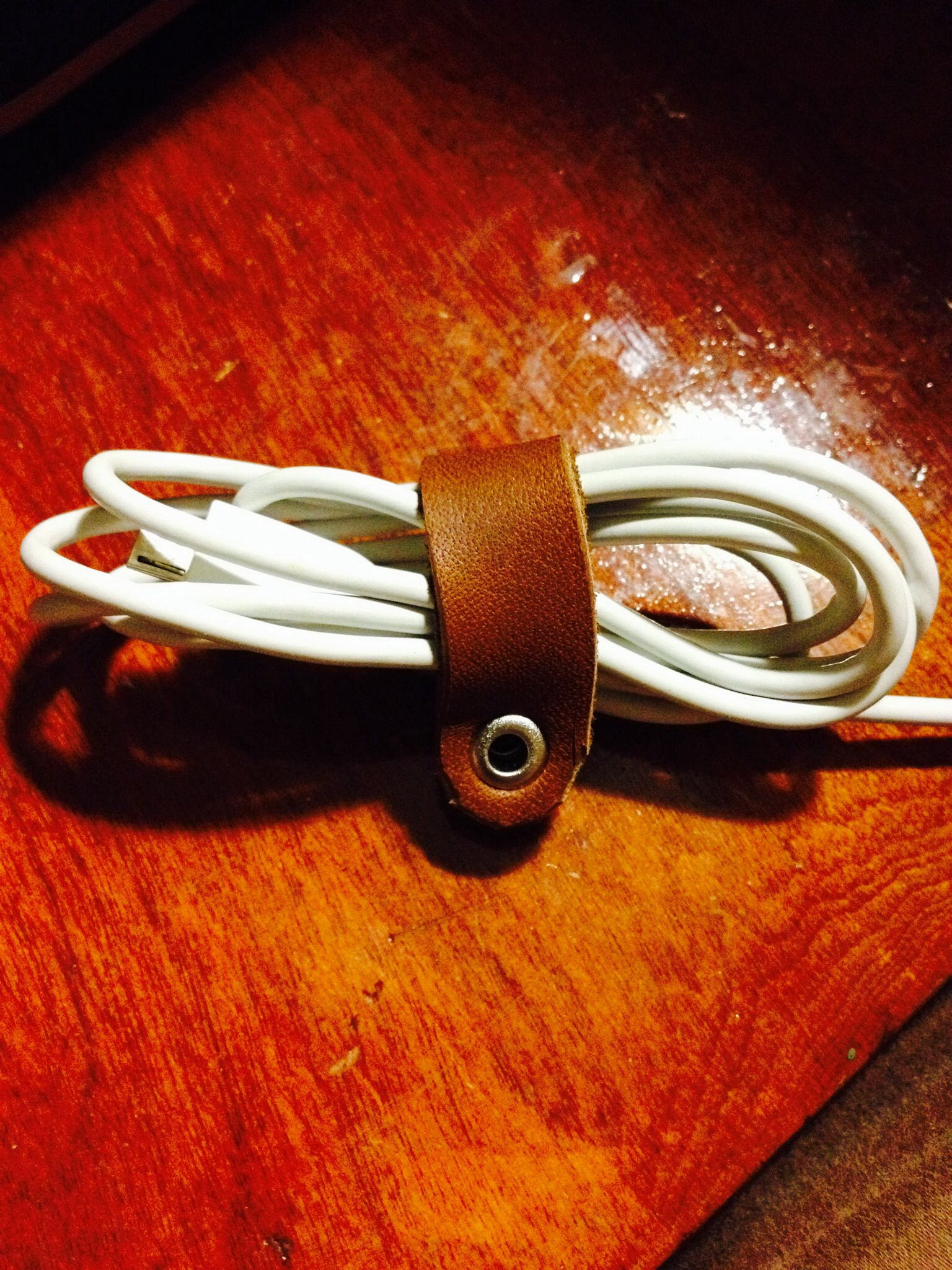 Leather and Snap cord holder