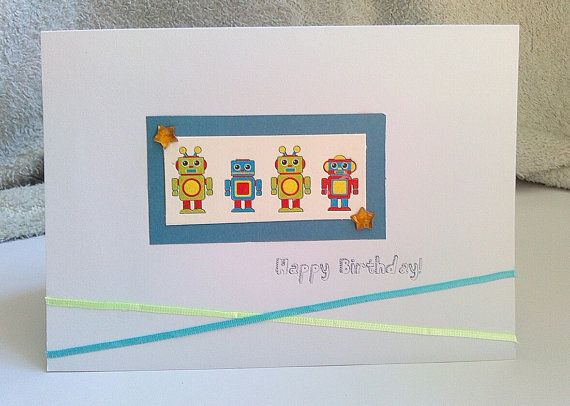 Cool Robot Themed Happy Birthday Card For Boys Or By Kaiscards