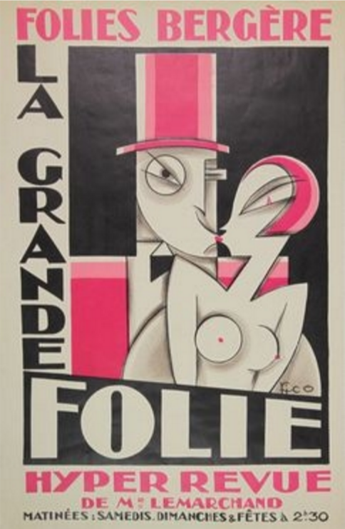 Maurice Picaud aka PICo (1900-1977, French), 1927,  La Grande Folie, Hyper revue at the Folies Bergère, Lithographic poster in colours, 51 x 36cm.
