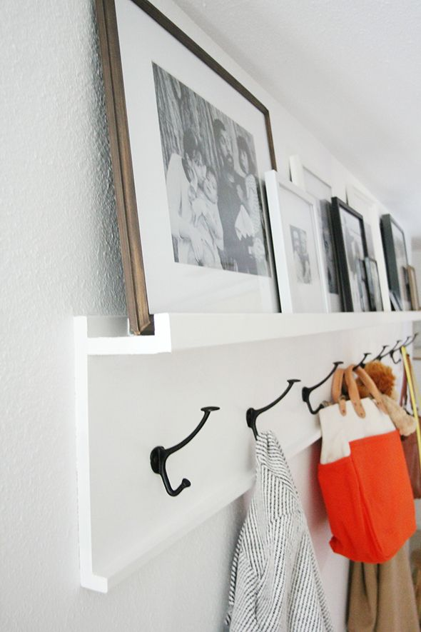 DIY Photo Ledge With Wall Hooks // Front Entryway Coat Hooks