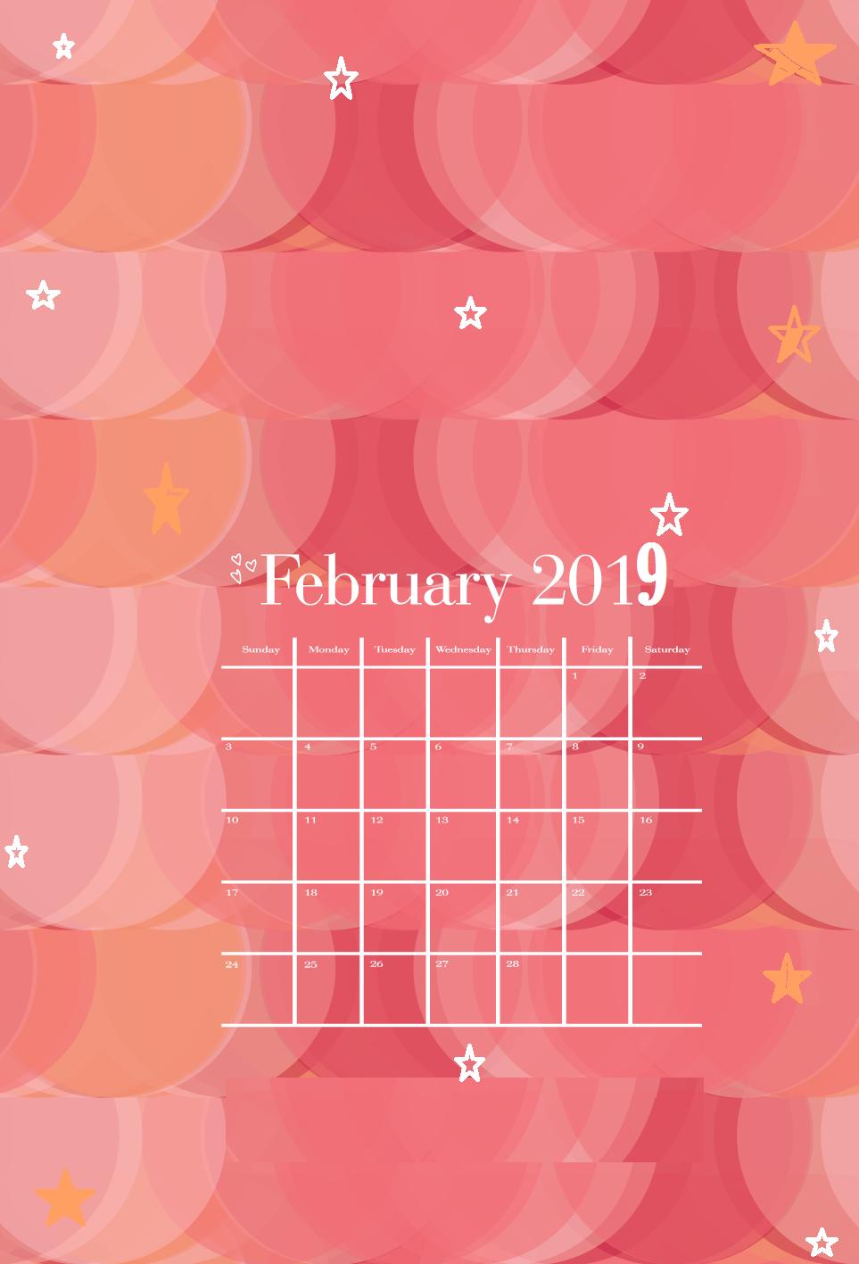 February 2019 Calendar Holiday Theme February 2019 iPhone Calendar Wallpapers | Monthly Calendar