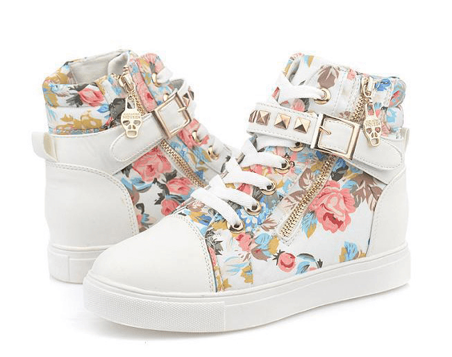 bd9ebda45361 Hot Floral Straps Studs Sneakers Canvas Shoes SD02314