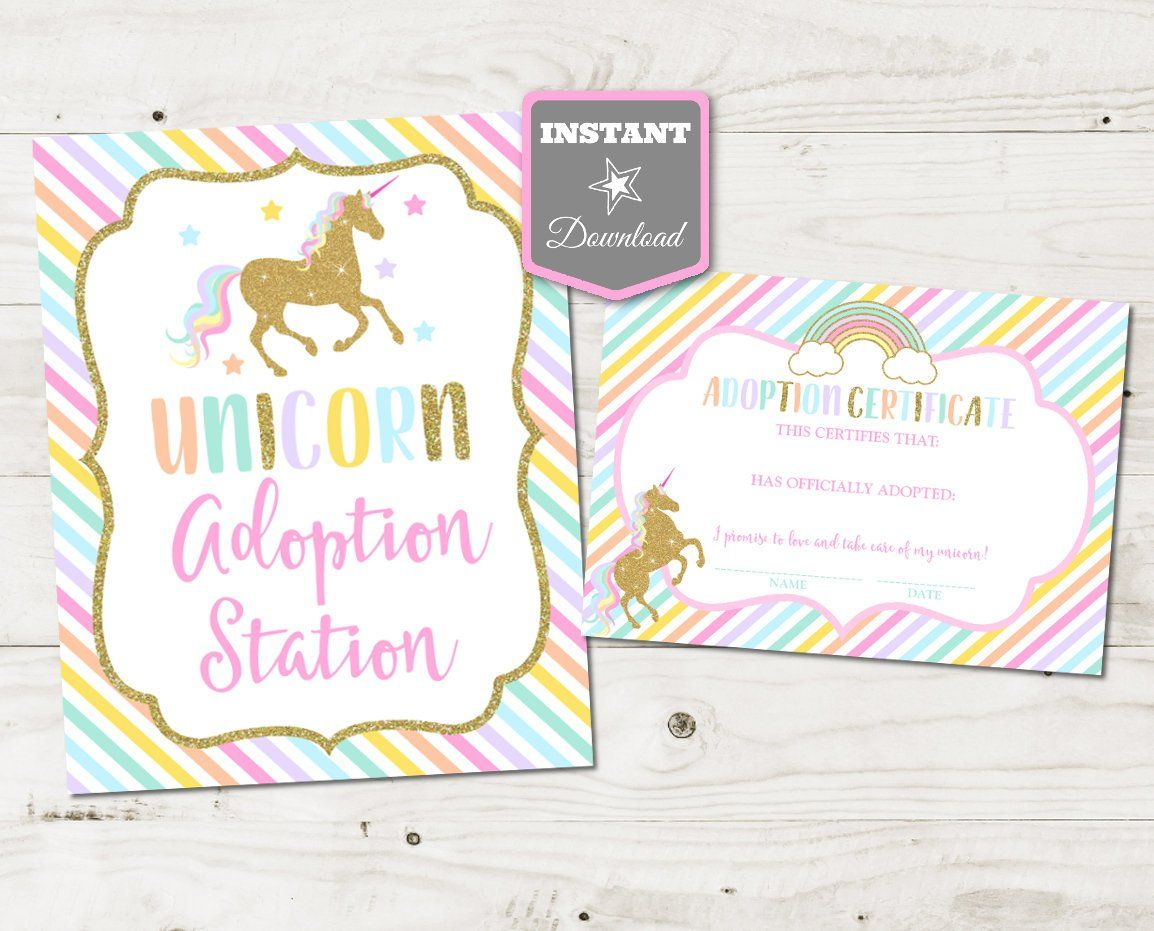 Instant Download Unicorn Printable 8x10 Adoption Station Sign And 5x7 Adoption Certificates Unicorns Rainbows Collection Item 3526 Unicorn Printables Unicorn Birthday Parties Unicorn Birthday Party Invitation