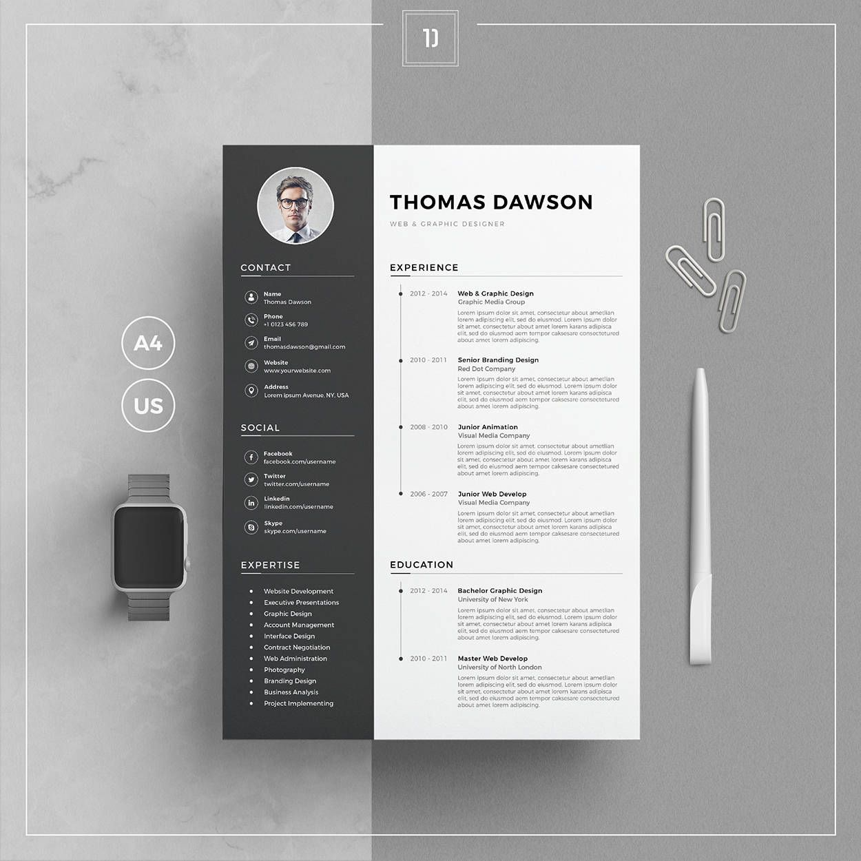 Modern Resume Template & Cover Letter + Business Card for Word ...
