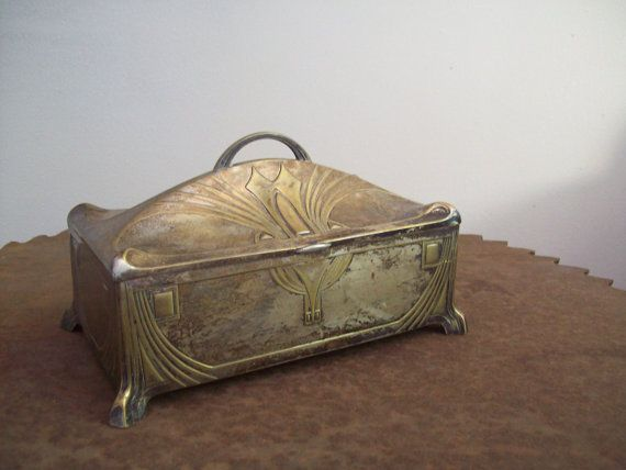 Antique Art Nouveau silverplate humidor WMF Co. Germany 1909-1914 hallmarked #vintage #decor #gift #woman $224.99