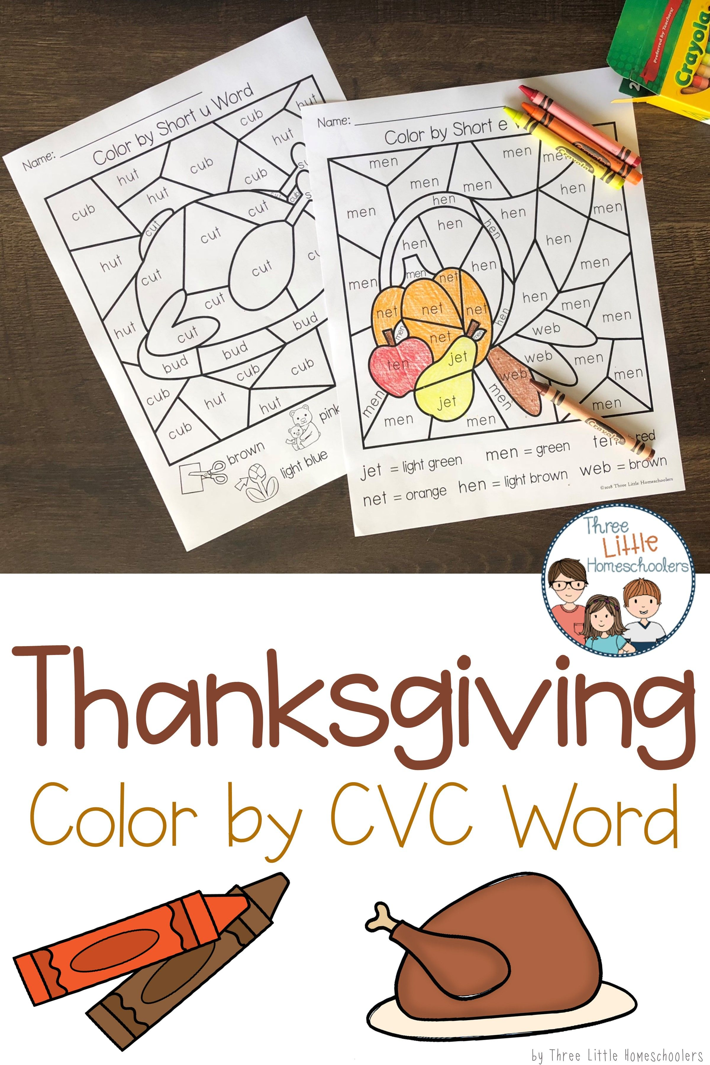 Thanksgiving Color by CVC Word | 3LH on TPT | Pinterest