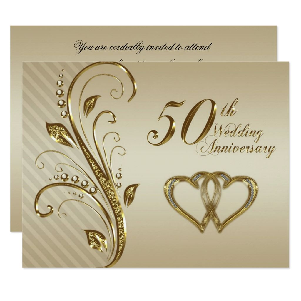 50th Wedding Anniversary Invitation Card | Zazzle.com