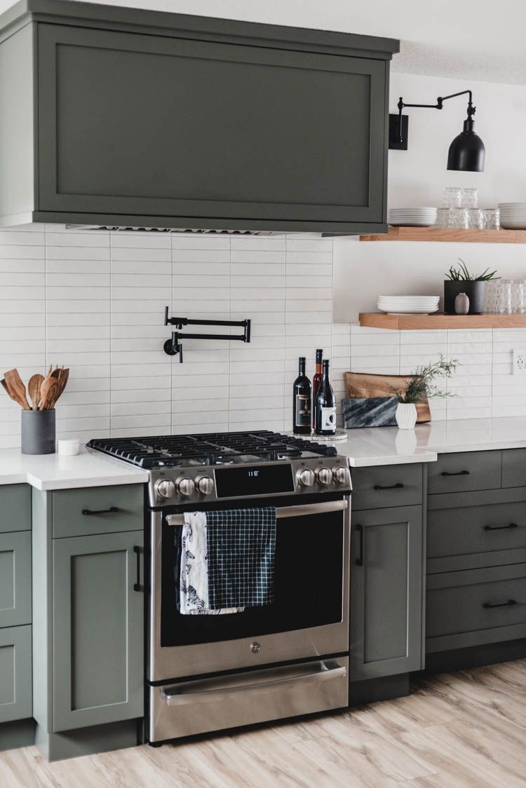 Modern Olive Green Kitchen Before After Green Kitchen Cabinets